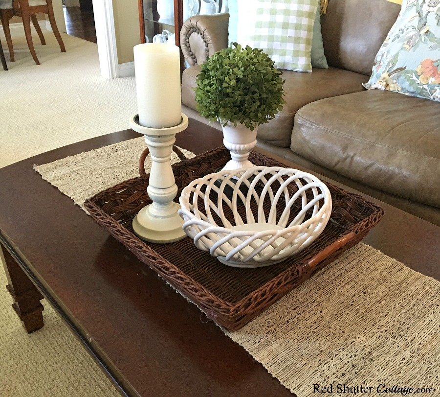 This open weave basket will hold shells for the Summer Coffee Table. www.redshuttercottage.com