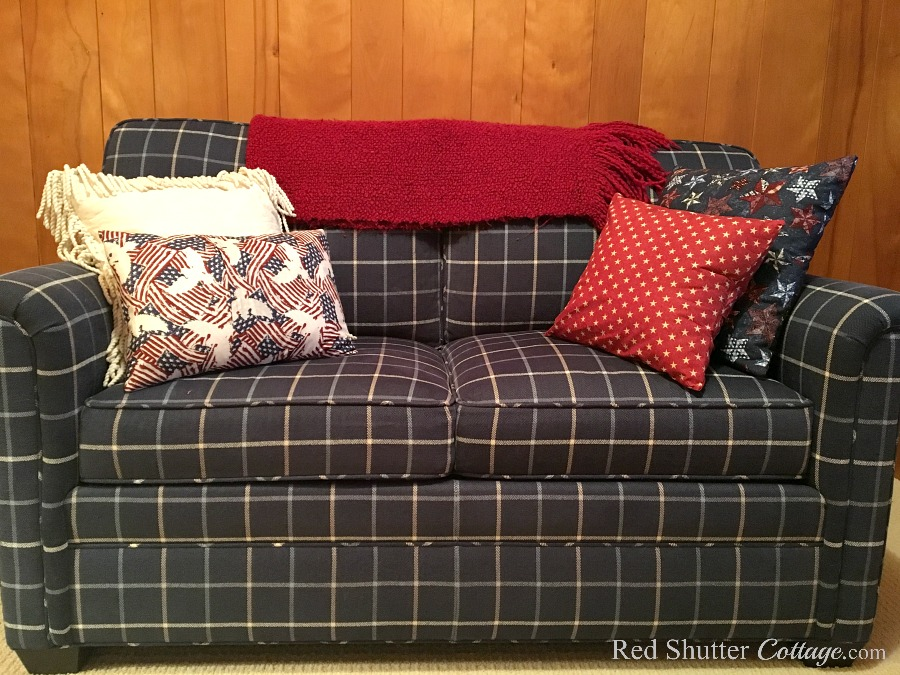 I sewed a trio of pillow covers using 4th of July themed fabrics for The Love Seat I Almost Didn't Buy. www.redshuttercottage.com