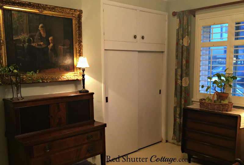This Tambour desk and painting shown together in the Home Office. www.redshuttercottage.com