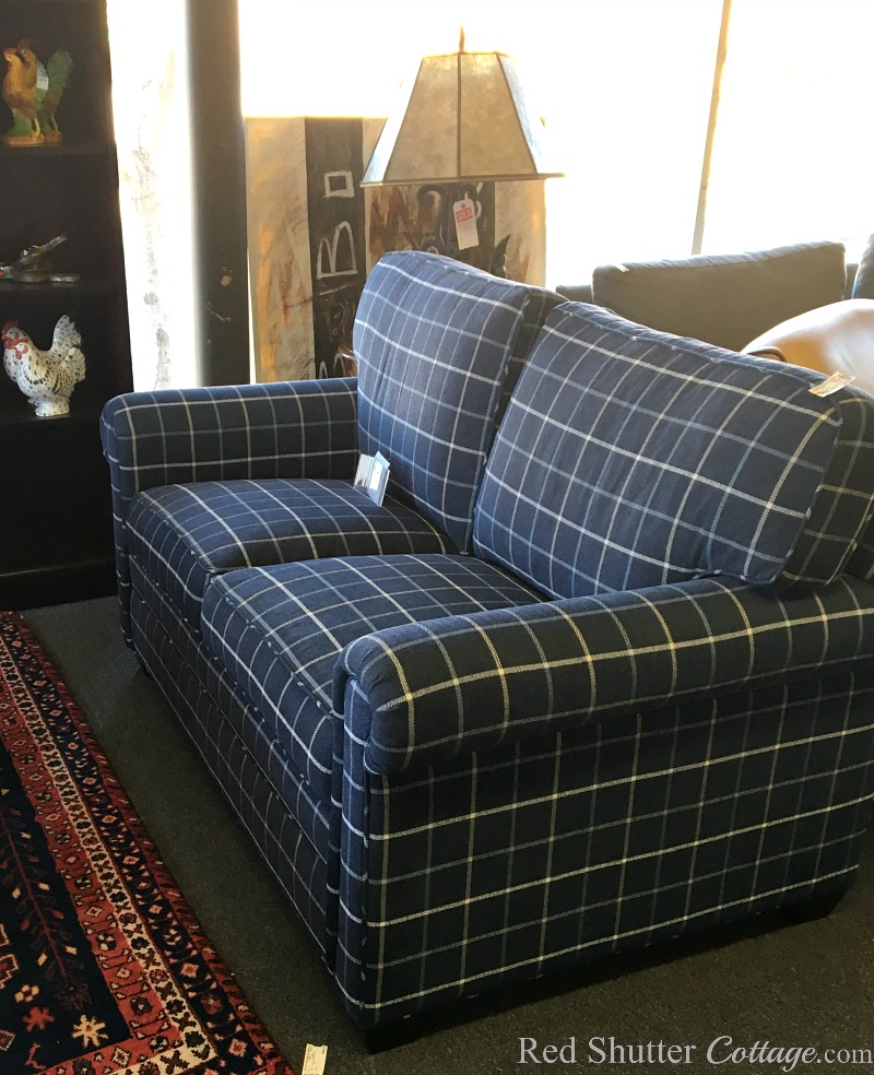 My first view in the consignment shop of the Love Seat I Almost Didn't Buy. www.redshuttercottage.com