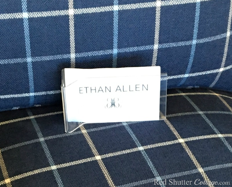 "This ""Ethan Allen"" sign on The Love Seat I Almost Didn't Buy was one of the reasons I reconsidered it. www.redshuttercottage.com"