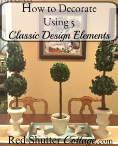 A trio of topiaries that are part of the 5 classic elements of design. www.redshuttercottage.com