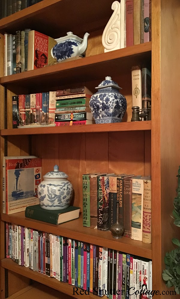 A side view of the left side bookcase in the same room with The Love Seat I Almost Didn't Buy. www.redshuttercottage.com