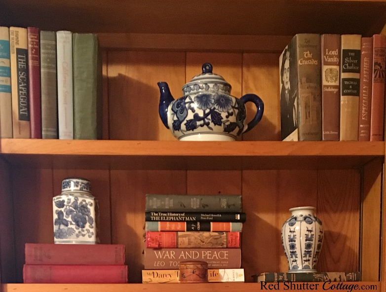 A close-up view of the right side bookcase in the same room with The Love Seat I Almost Didn't Buy. www.redshuttercottage.com