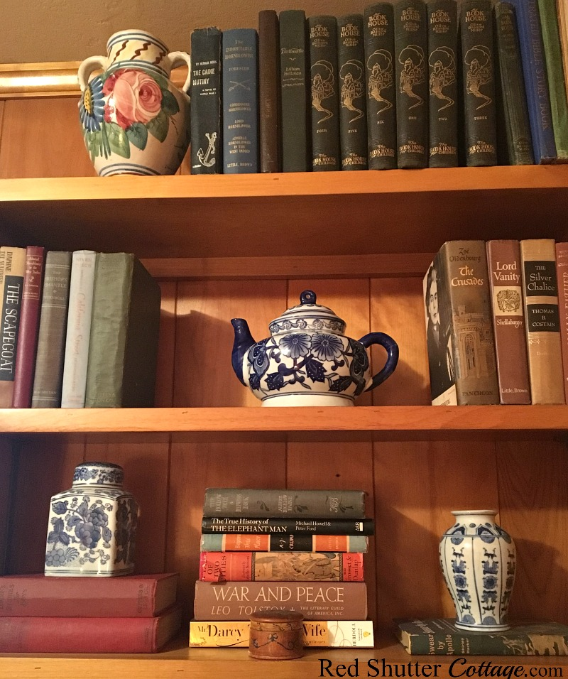 A view of the right side bookcase in the same room with The Love Seat I Almost Didn't Buy. www.redshuttercottage.com