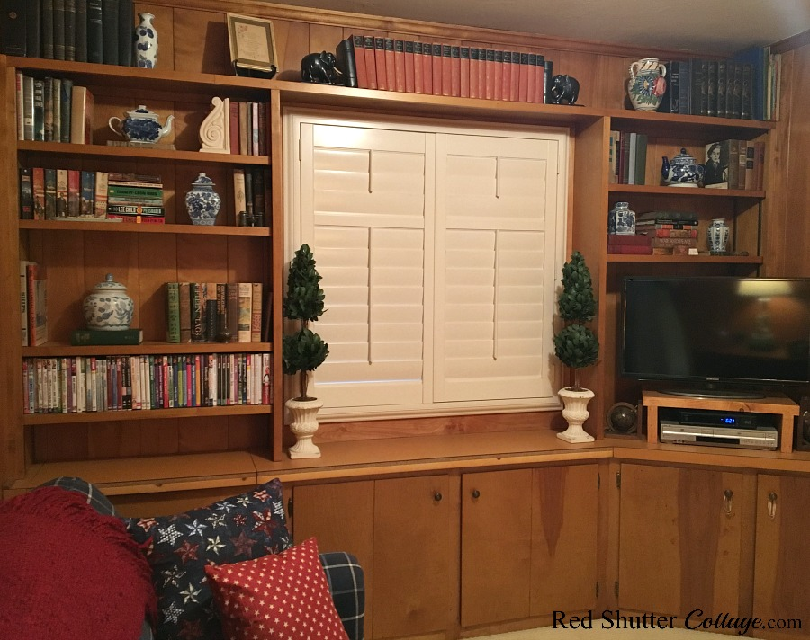 A view of the TV room from the opposite corner from the doorway showing a peek of The Love Seat I Almost Didn't Buy. www.redshuttercottage.com