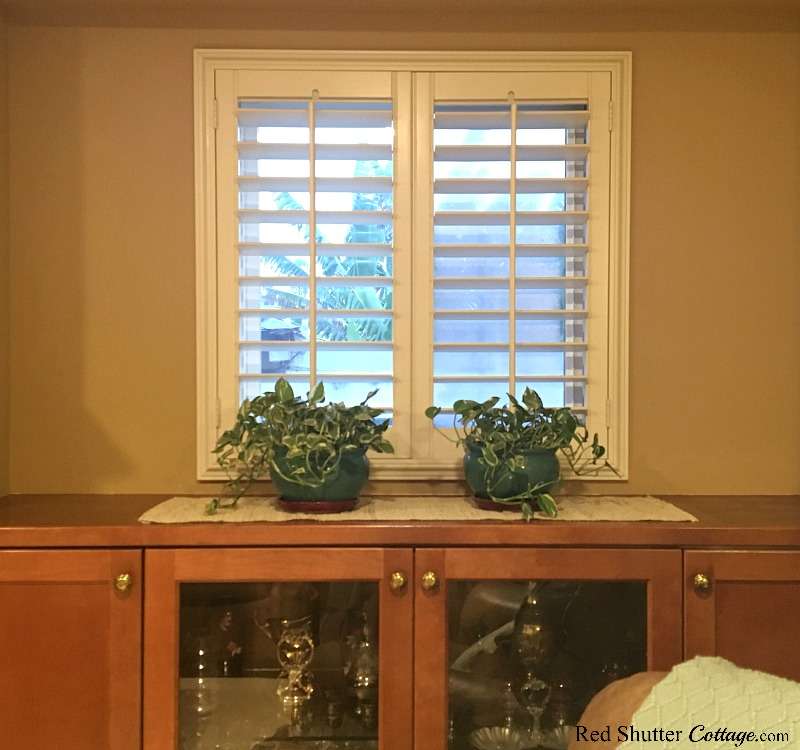 This view of the right side window countertop showing two rather uninspired plants, part of the challenge of Stying Window Countertops. www.redshuttercottage.com