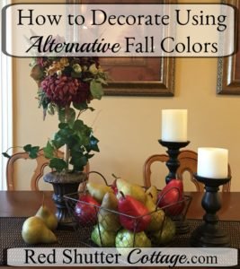 How to decorate using alternative fall colors offers ideas and options of colors to use for fall decorating. www.redshuttercottage.com