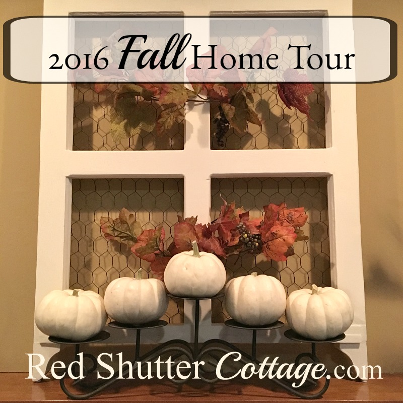 This is the Fall 2016 living room tour, showing pumpkins, gourds and all things fall to celebrate the season. www.redshuttercottage.com