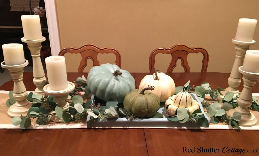 These neutral pumpkins are a part of how to decorate using alternative fall colors. www.redshuttercottage.com