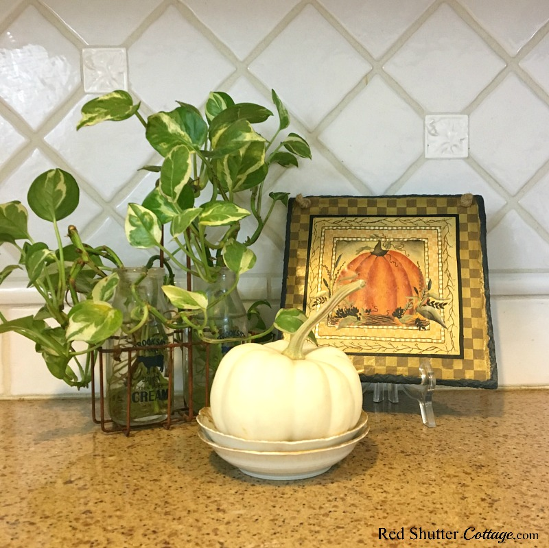 A little vignette as part of Fall in the Kitchen 2018 that includes a pumpkin plaque and a white pumpkin. www.redshuttercottage.com