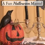 A jack-o'-lantern and crow atop a Fun Halloween Mantel. www.redshuttercottage.com