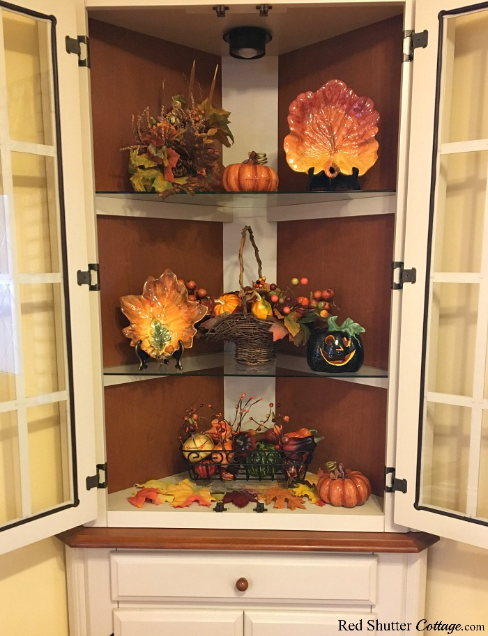 Fall in the Kitchen 2018 includes our kitchen hutch outfitted in fall colors. www.redshuttercottage.com