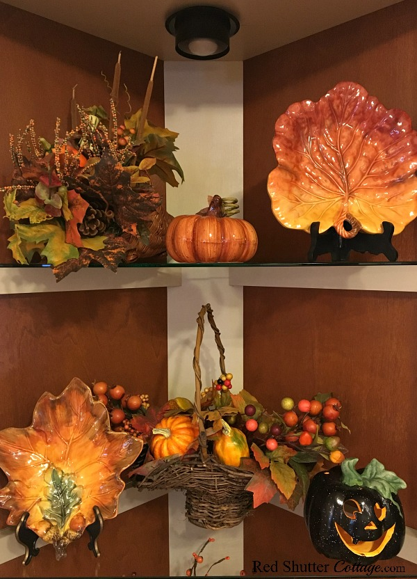 The top two shelves of our kitchen hut dressed up for Fall in the Kitchen 2018. www.redshuttercottage.com