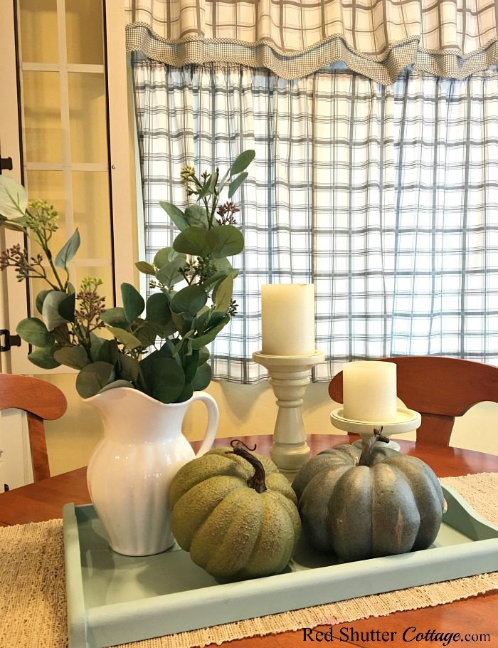 Teal and green pumpkins are part of A Simple Fall Vignette - 5 Ways. www.redshuttercottage.com