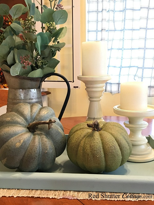 This turquoise tray holds a galvanized pitcher and neutral pumpkins as part of A Simple Fall Vignette - 5 Ways. www.redshuttercottage.com