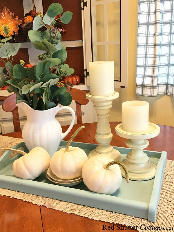 A trio of white pumpkins are in included in A Simple Fall Vignette - 5 Ways. www.redshuttercottage.com