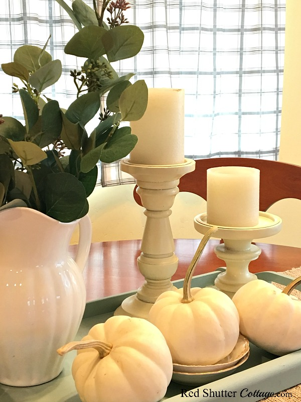 White pumpkins on a turquoise tray are a pretty sight as part of A Simple Fall Vignette - 5 Ways. www.redshuttercottage.com
