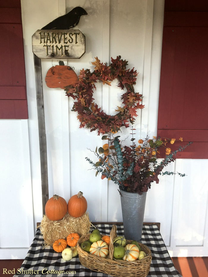 A complete view of A Festive Fall on the Front Porch. www.redshuttercottage.com