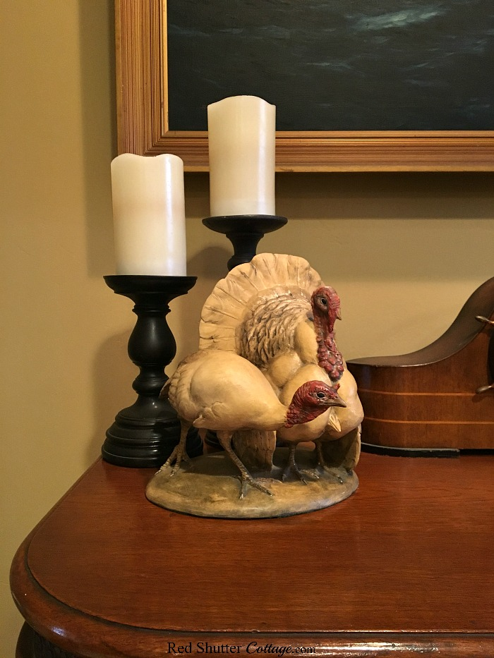 Ceramic turkeys handmade in Italy are part of the Thanksgiving decor in 2018 Thanksgiving Mantel. www.redshuttercottage.com