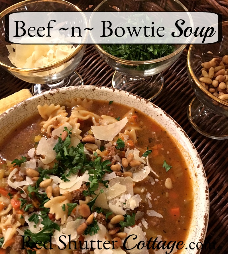 Who doesn't need a soup recipe in their back pocket when only a delicious, nutritious soup will do? Beef ~n~ Bowtie soup is a recipe for just that, and just in time, too! www.redshuttercottage.com