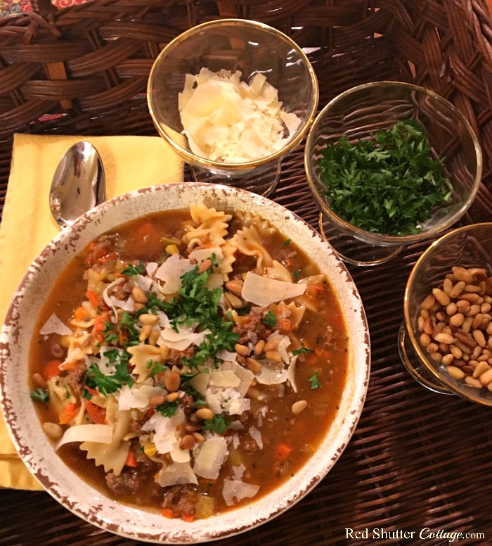 Simple and delicious, Beef ~n~ Bowtie soup includes meat, vegetables and bowtie (farfalle) pasta. www.redshuttercottage.com