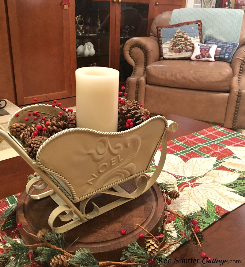 This view of the coffee table is part of the 2018 Christmas Living Room. www.redshuttercottage.com