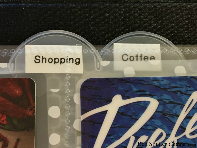 Shopping and coffee are two of the categories of the 3-ring binder containing my gift cards. Read more at How to Organize Gift Cards-4 Ideas at www.redshuttercottage.com
