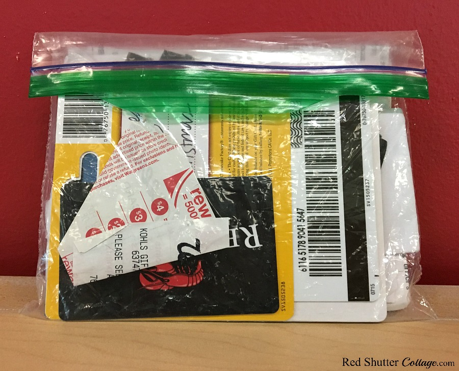 There are several ways to carry gift cards, including in a clear plastic baggy. Read the post:How to Organize Gift Cards – 4 Ideas. www.redshuttercottage.com