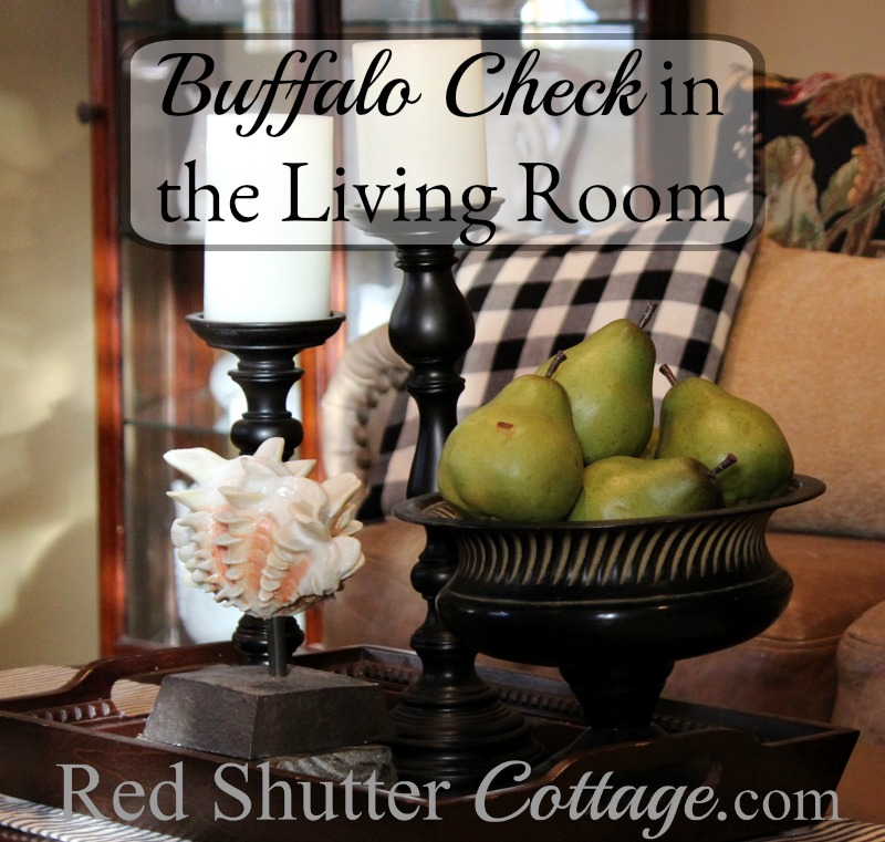 Buffalo check pillows in the living room make for a cozy inviting feel. www.redshuttercottage.com