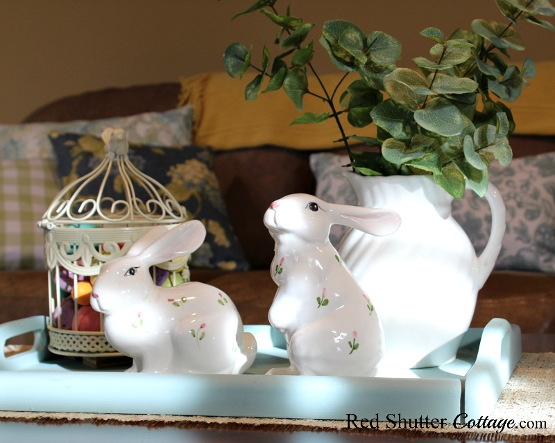 A Simple & Easy Easter Coffee Table includes porcelain painted bunnies and a Laura Ashley pitcher. www.redshuttercottage.com