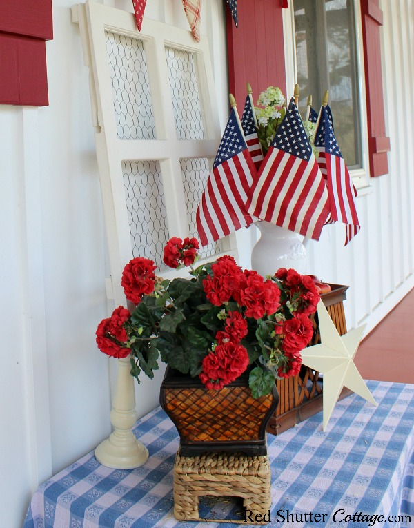 Red, white and blue everywhere to celebrate 4th of July On The Front Porch.