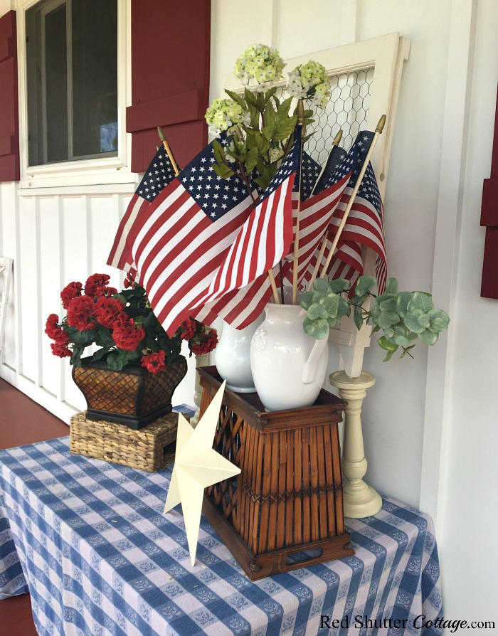 Multiple pitchers holding flags was one of my original visions for 4th of July On The Front Porch.