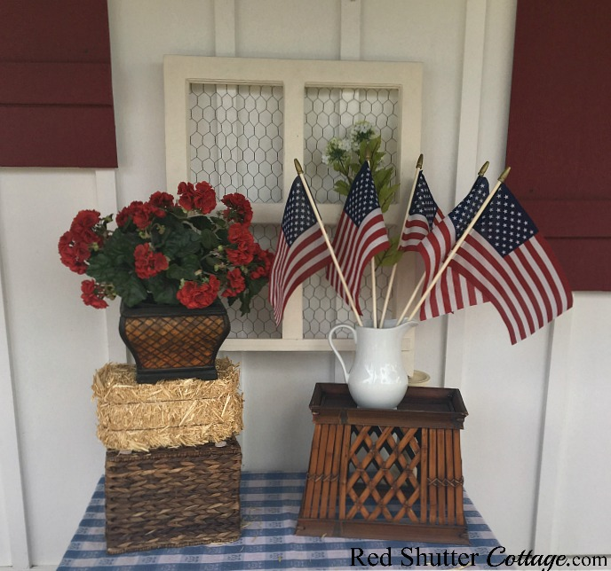 The first attempt to add the flags to 4th of July On The Front Porch.