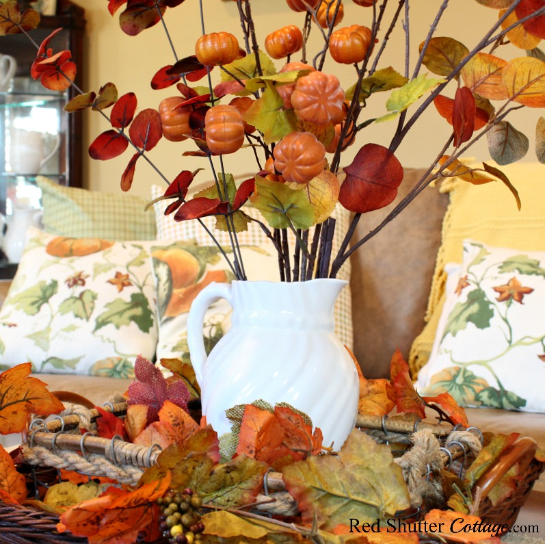 A fall vignette on a coffee table, one of the variations in A Fall Coffee Table - 3 Ways. www.redshuttercottage.com