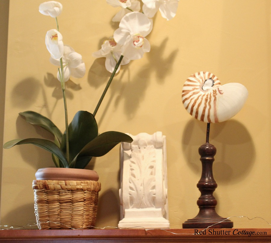 On the left hand side of an Early Winter Living Room mantel, a spray of orchids, shell on stick and a thrift shop corbel. www.redshuttercottage.com