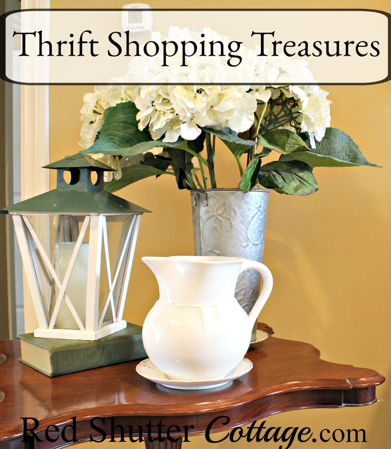 A vignette entirely made-up of Thrift Shopping Treasures. www.redshuttercottage.com
