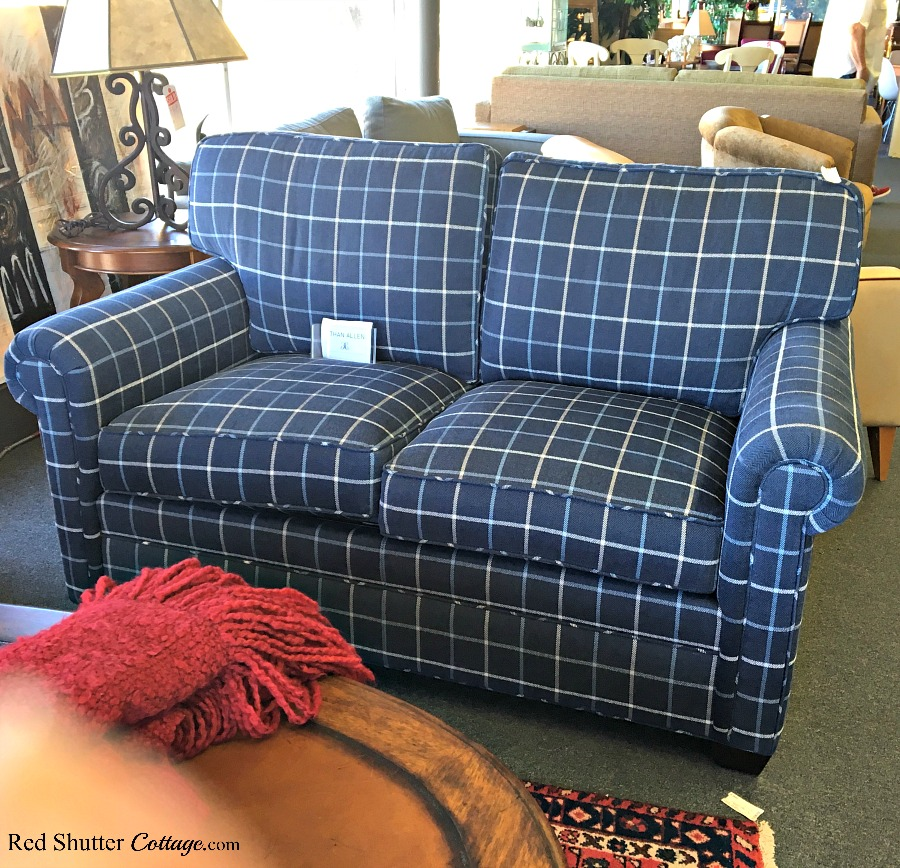 A loveseat, captured at a consignment store for a steal! A great example of The Joy of Treasure Finds by Thrift Shopping. www.redshuttercottage.com