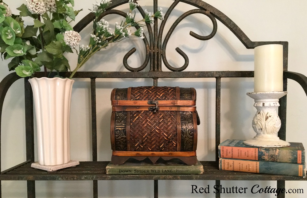 A petite bombay chest flanked by a garage sale vase and chippy candleholder. Great examples for 7 Tips for Thrift Store Shopping. www.redshuttercottage.com