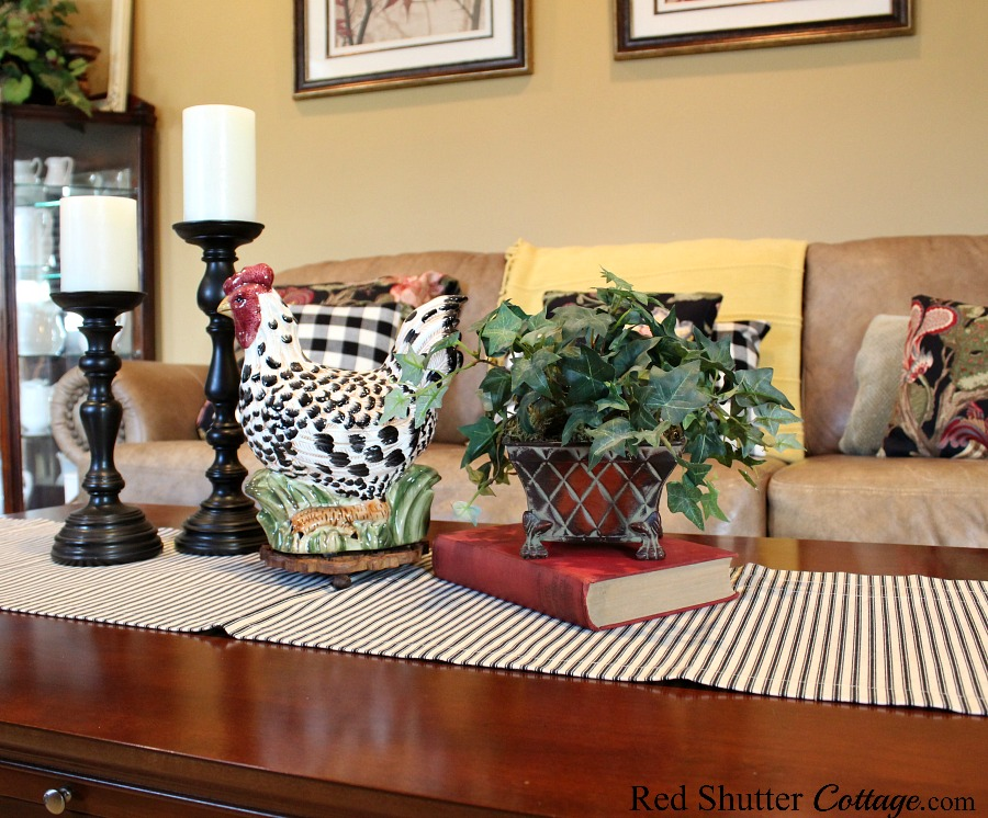 A black and white ticking runner that was brand new and still in its packaging. Another example of 7 Tip for Successful Thrift Shopping. www.redshuttercottage.com
