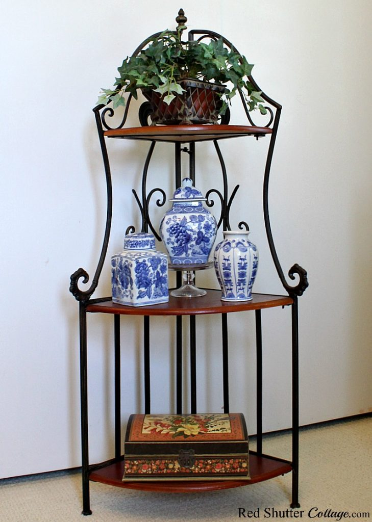 A corner shelf unit that was marked down not once but twice! A great example of 7 Tips for Successful Thrift Shopping. www.redshuttercottage.com
